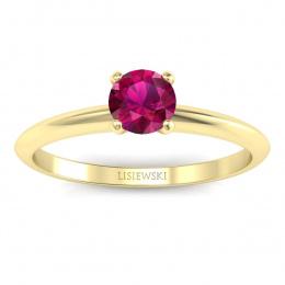Pierścionek zaręczynowy z rubinem żółte złoto 585 - p16365zr