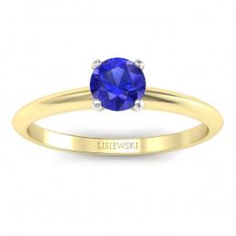 Zaręczynowy pierścionek z szafirem cejlońskim - p16365zbszc