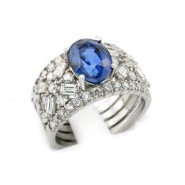 Pierścionek z platyny, szafir, diamenty - pt1184_VS1